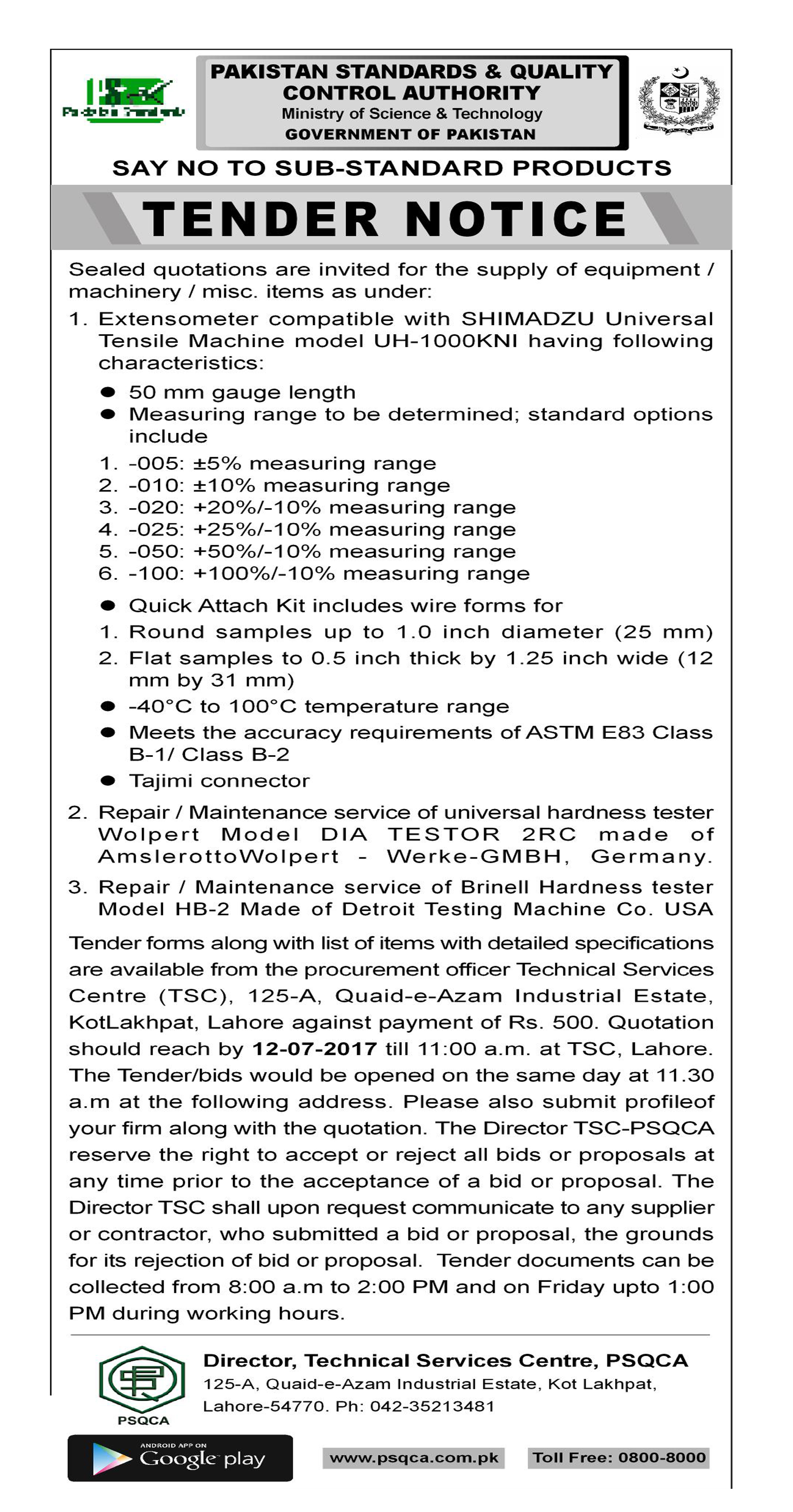 Pakistan standards quality control authority inviting tender tsc falaconquin